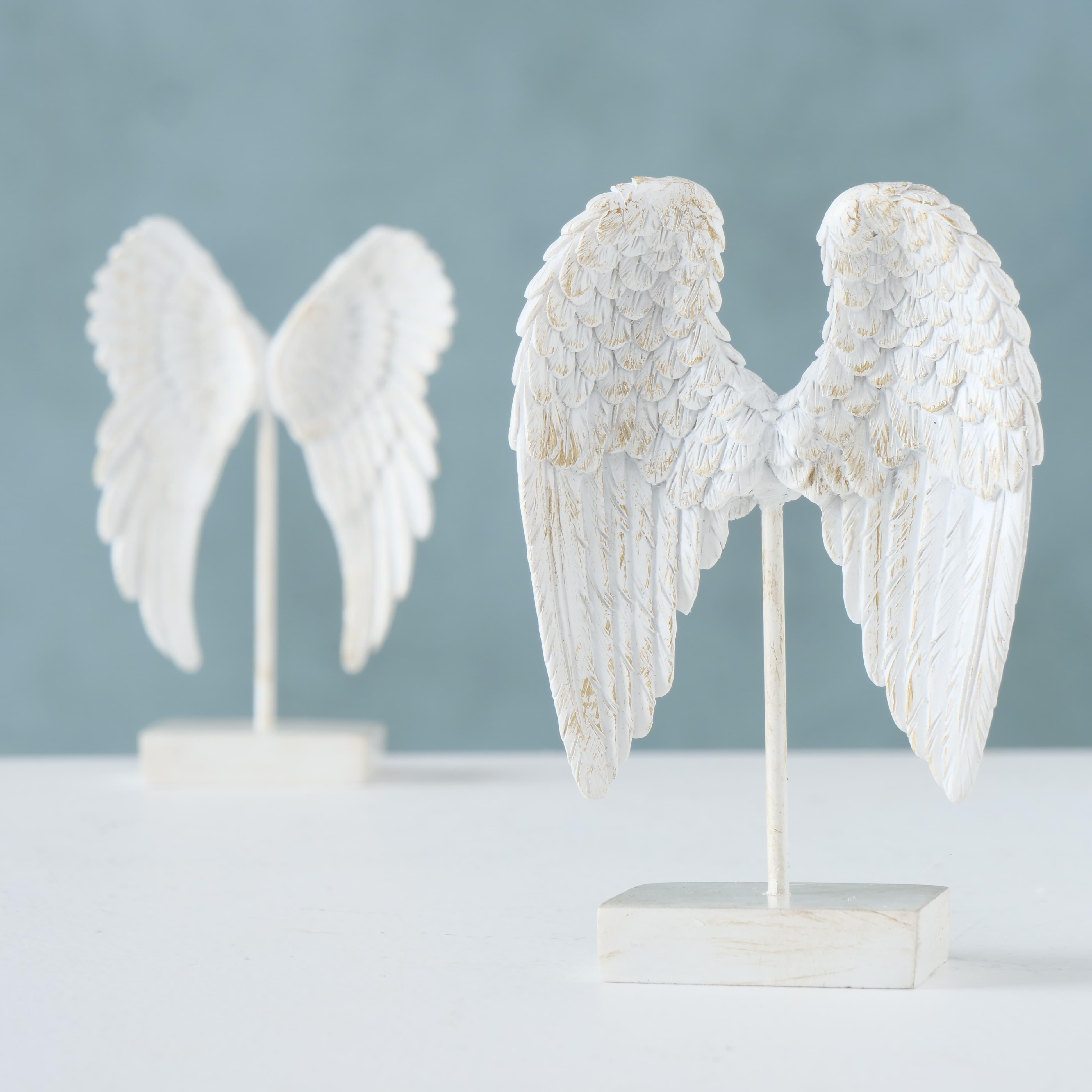 Decoratiune din polirasina Angel Wings Alb, Modele Asortate, l7xA3xH10 cm poza