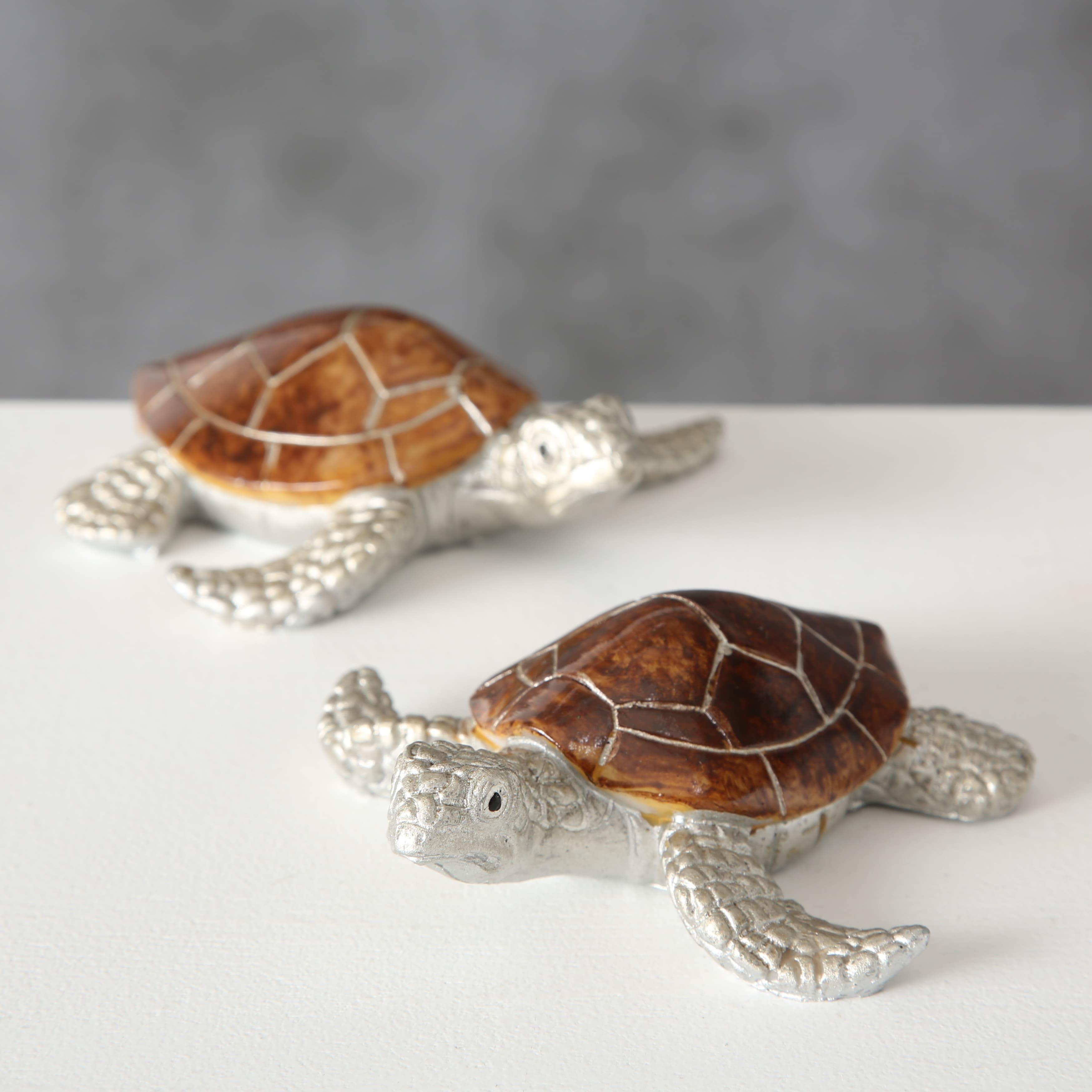 Decoratiune din polirasina Bijan Turtle Argintiu / Maro, Modele Asortate, l11xA11xH4 cm