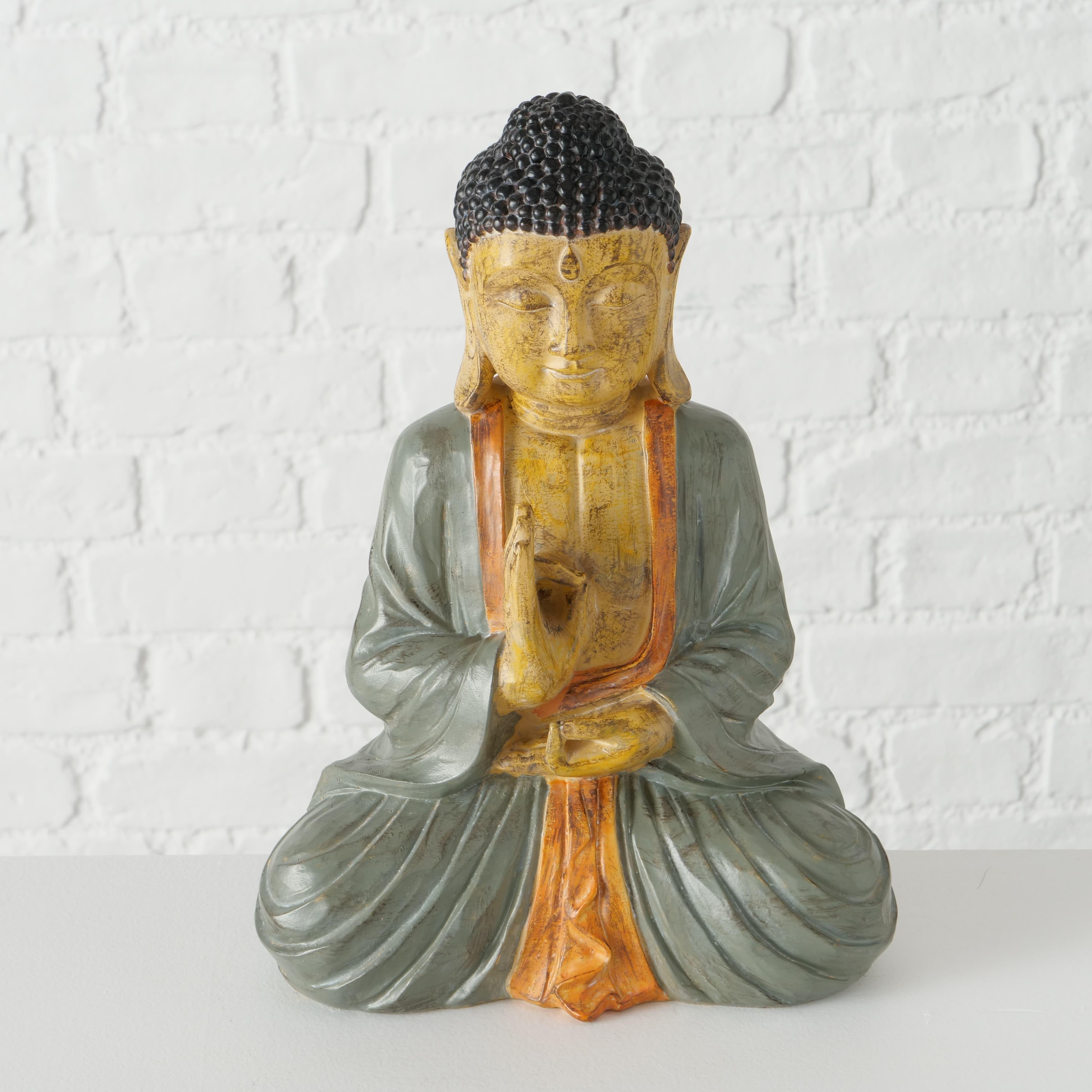 Decoratiune din polirasina Buddha Multicolor, l22xA12xH30 cm poza