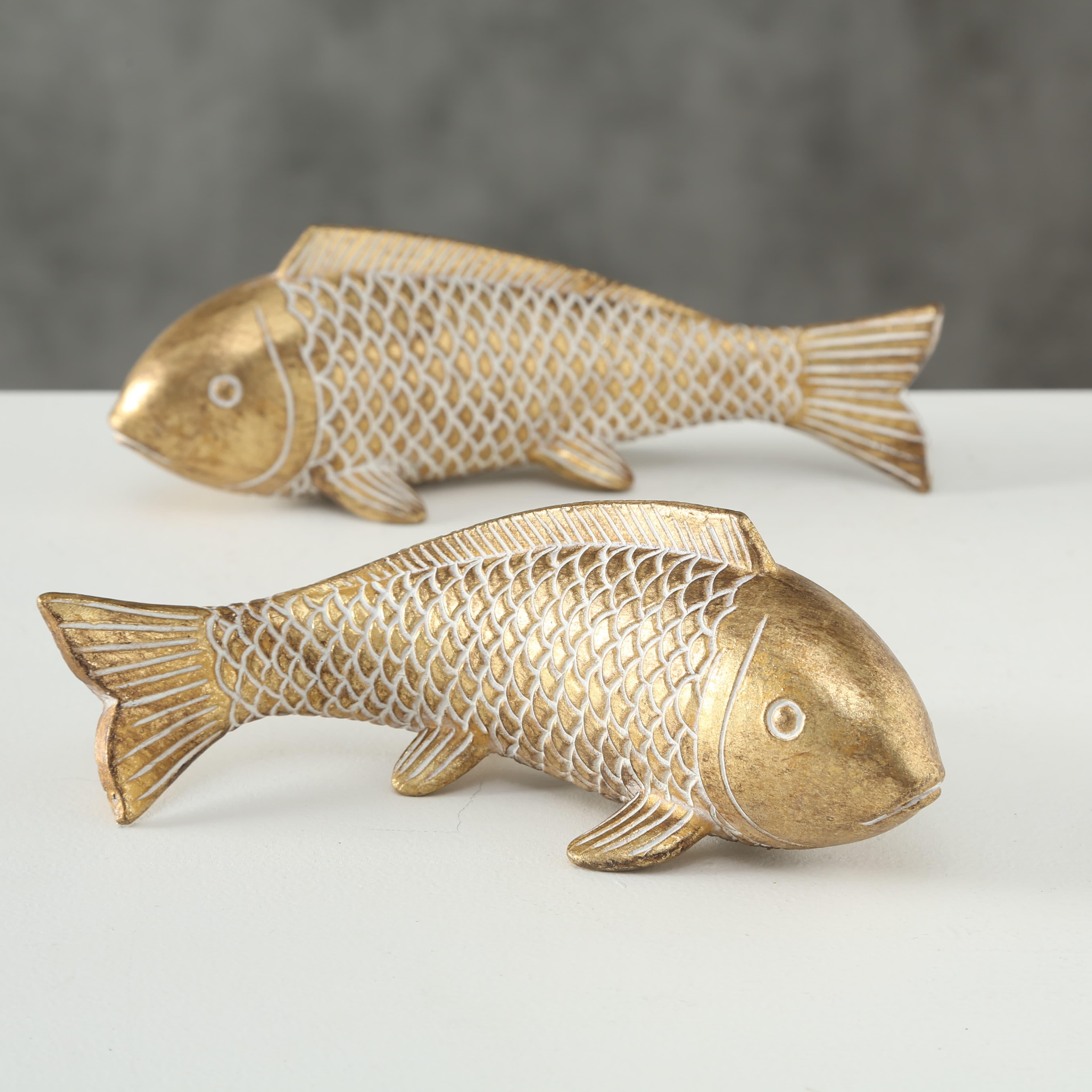 Decoratiune din polirasina Frida Fish Auriu, Modele Asortate, l22xA8xH8 cm poza