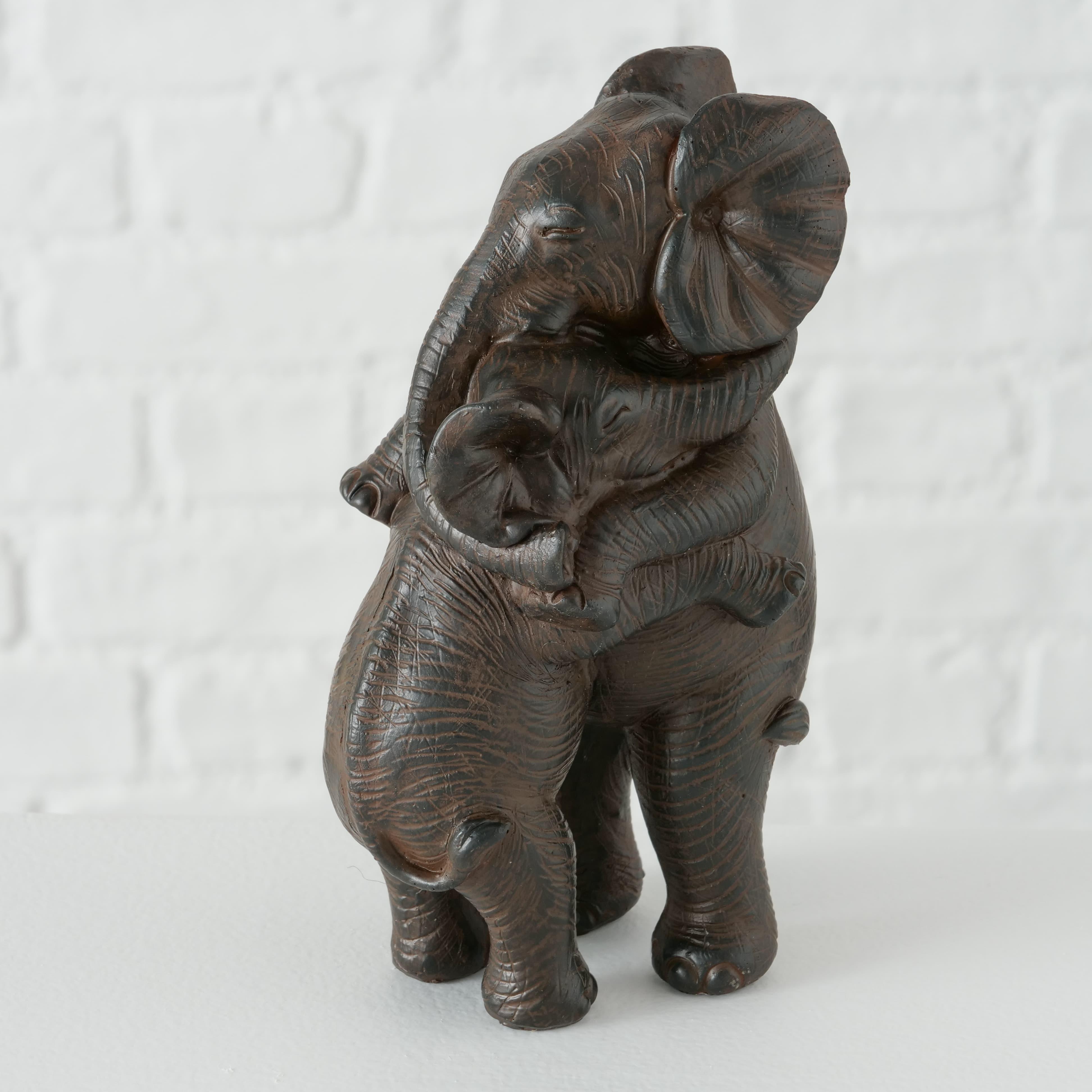 Decoratiune din polirasina Janek Elephant Maro inchis, l10xA8xH15 cm