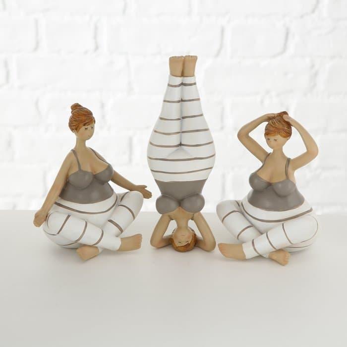 Decoratiune din polirasina Yoga Multicolor, Modele Asortate, l7,5xA5,5xH21 cm poza