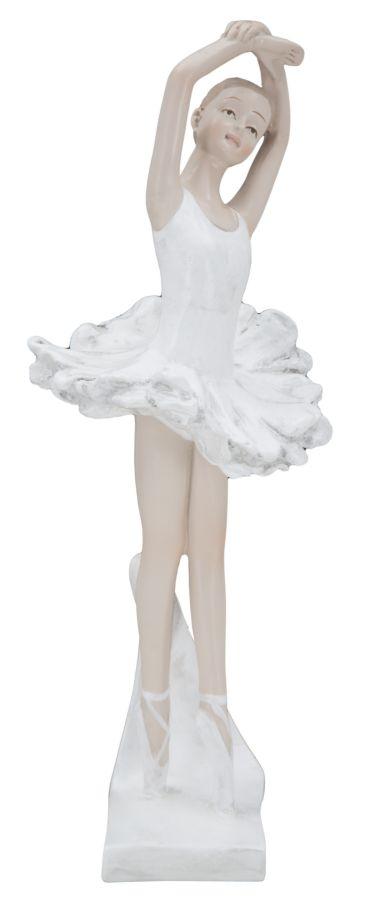 Decoratiune din rasina Ballerina Dancing B Alb / Nude, l8xA8xH23 cm poza