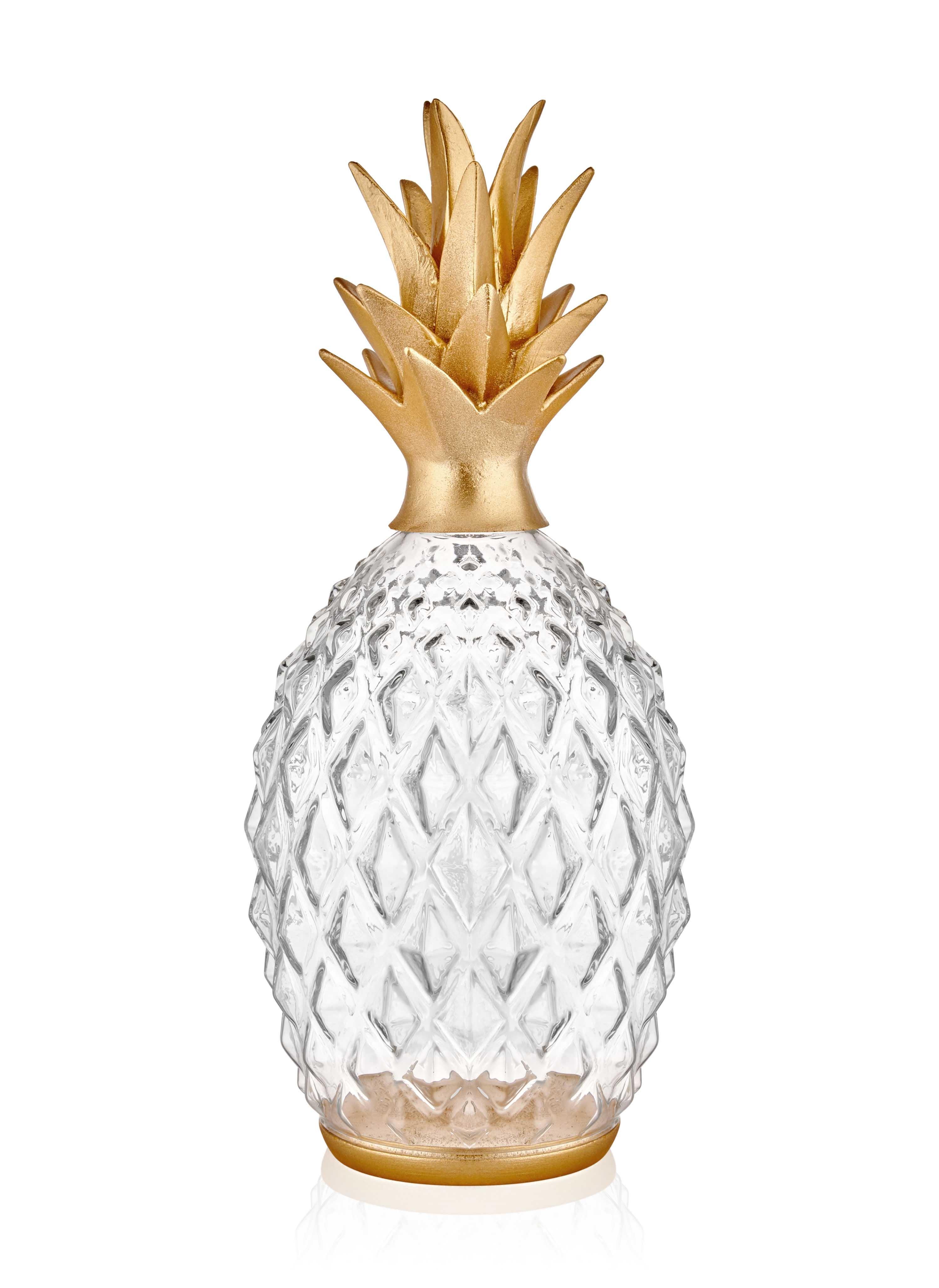 Decoratiune din sticla Diamond Pineapple Auriu, Ø17xH45 cm
