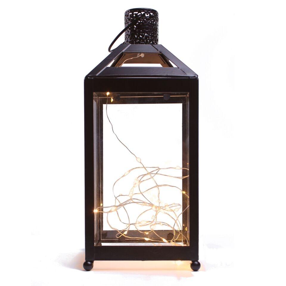Decoratiune felinar cu 24 LED-uri din metal si PVC Fabulous Black l135xA135xH318 cm