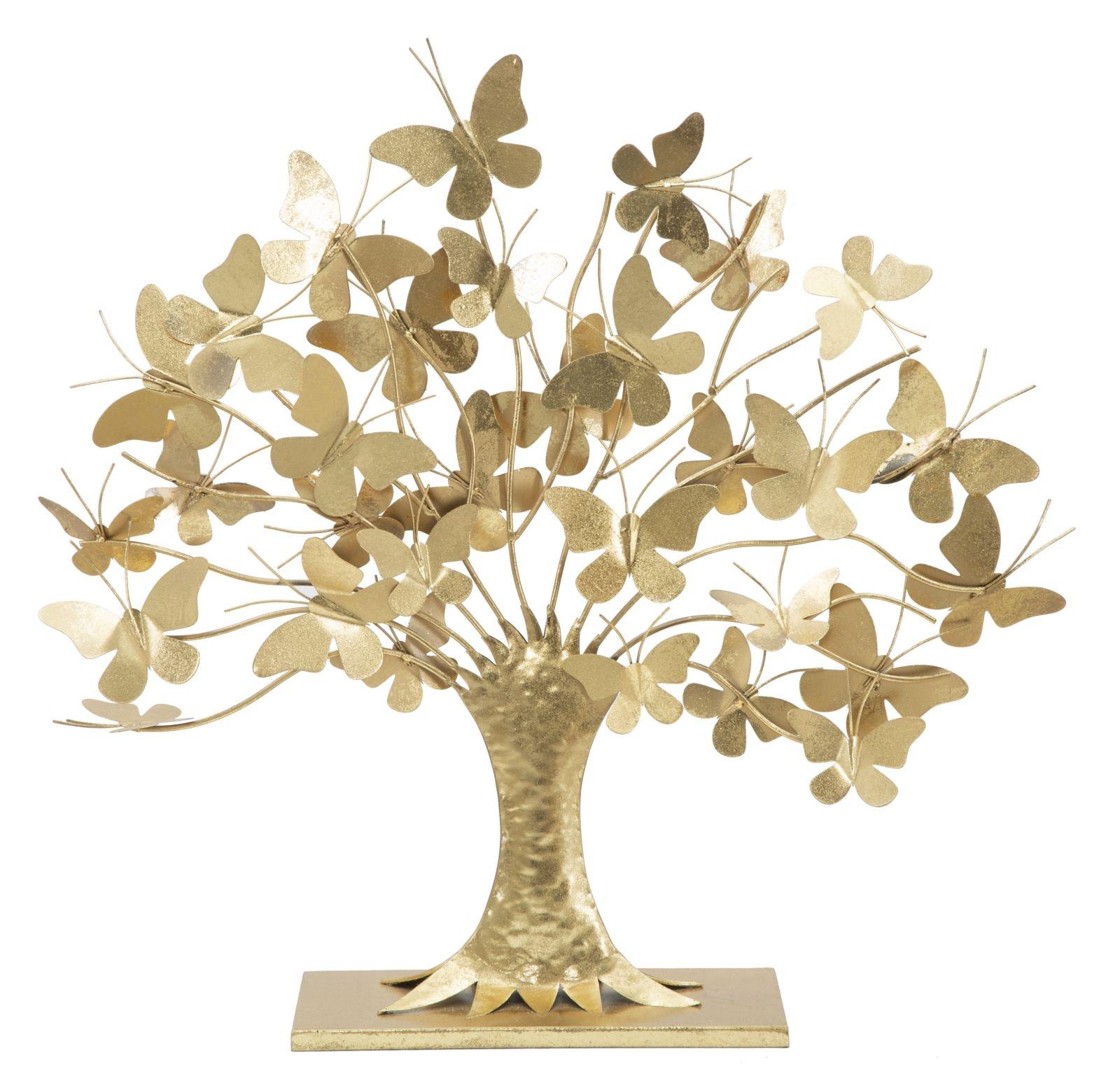 Decoratiune metalica Butterfly Tree Auriu, l63xA13xH60 cm