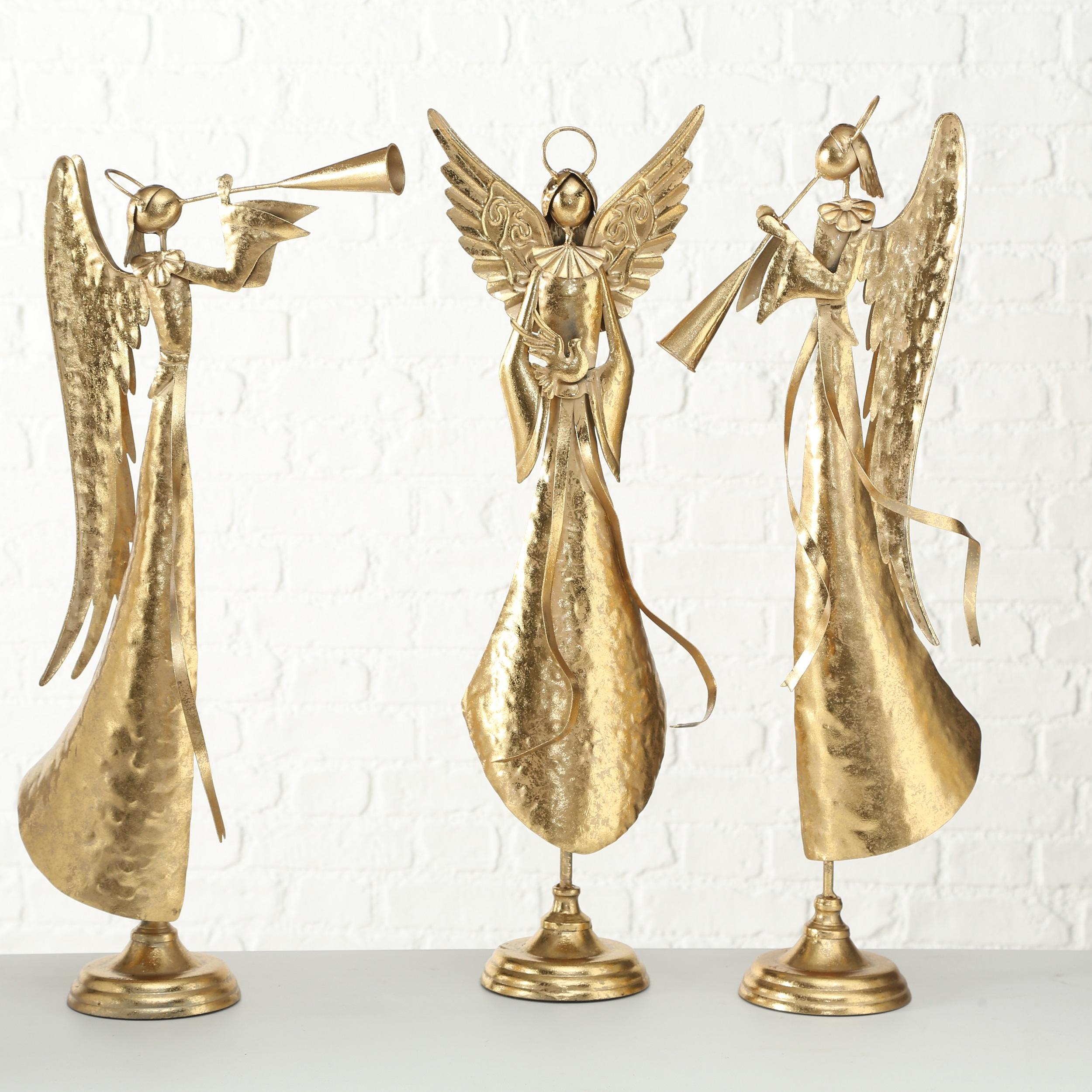 Decoratiune metalica Cory Angel Auriu, Modele Asortate, l29xA13xH72 cm imagine