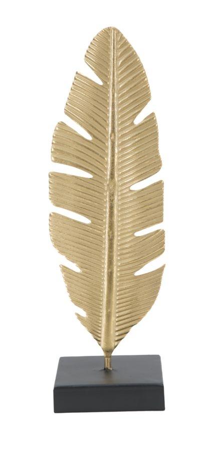 Decoratiune metalica cu suport lumanare Leaf A Auriu / Negru, l10xA10xH34 cm poza