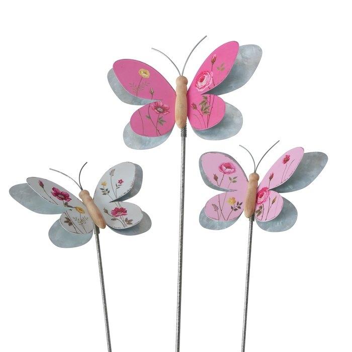 Decoratiune metalica de gradina Rosalie Butterfly Multicolor, Modele Asortate, H107 cm somproduct.ro