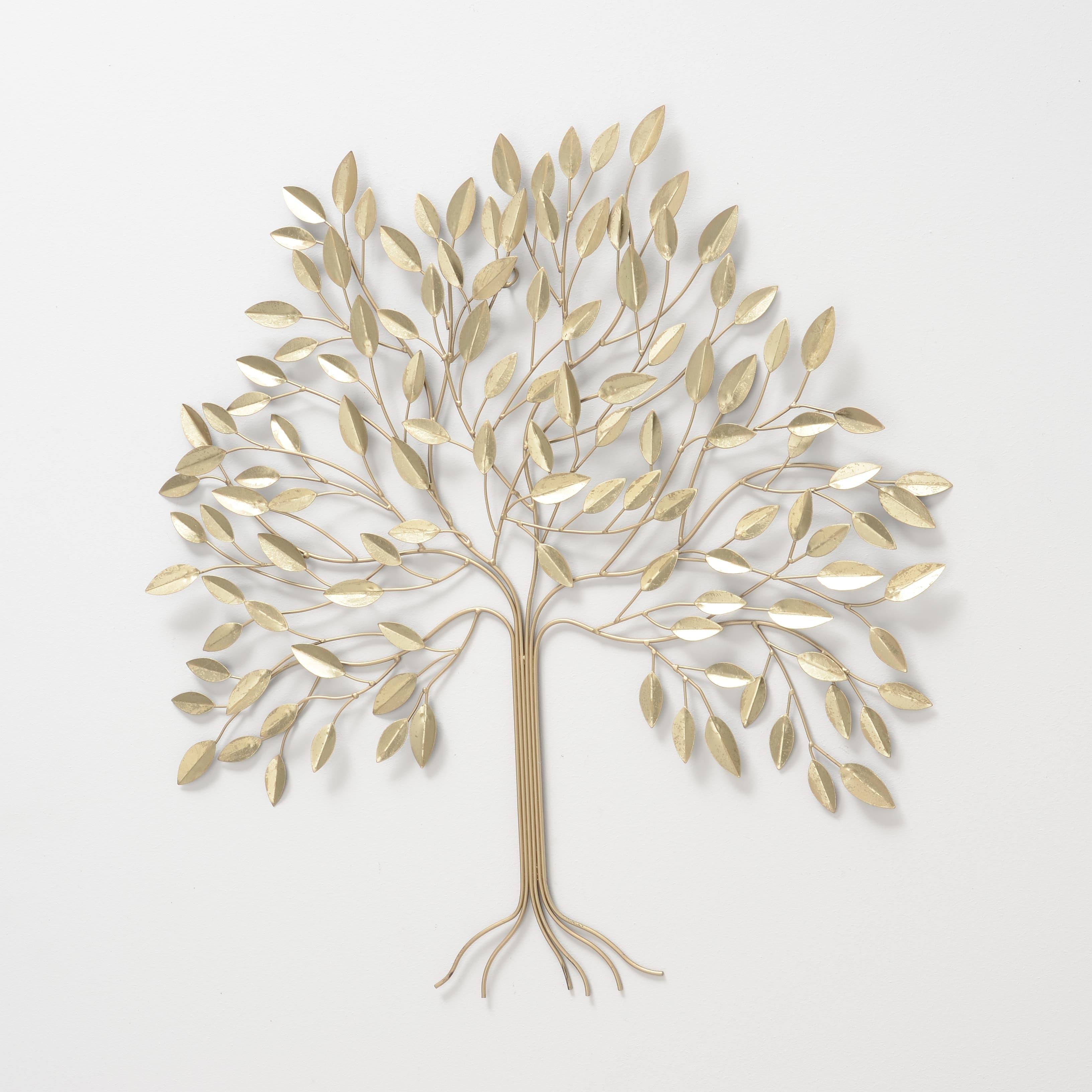 Decoratiune metalica de perete Alana Tree Auriu, l74xA4xH74 cm