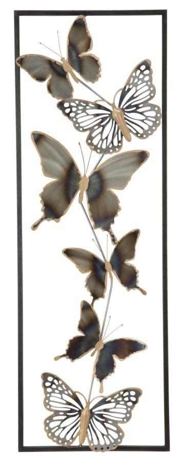 Decoratiune metalica de perete Butterflies Multicolor, l31xA2,5xH90 cm imagine