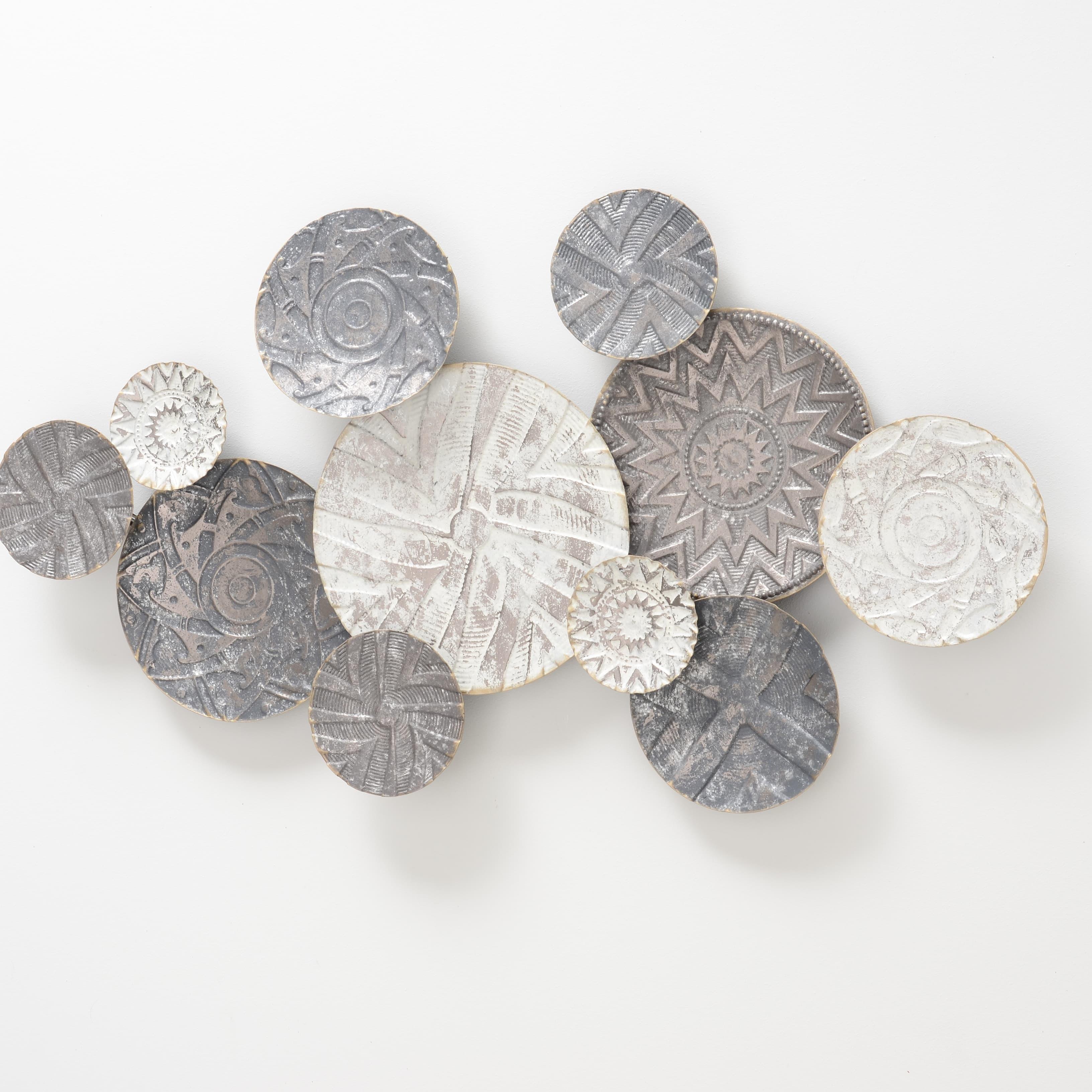 Decoratiune metalica de perete Caritan Gri / Bej, l110xA7xH60 cm
