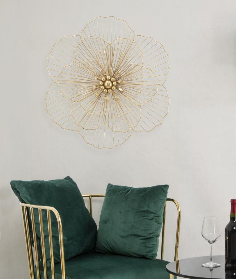 Decoratiune metalica de perete Flowers Stick Auriu, l58,5xA7,5xH55 cm poza