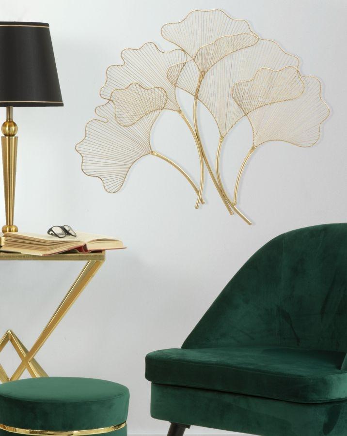 Decoratiune metalica de perete Glam Leaf Auriu, l79xA5xH68 cm poza