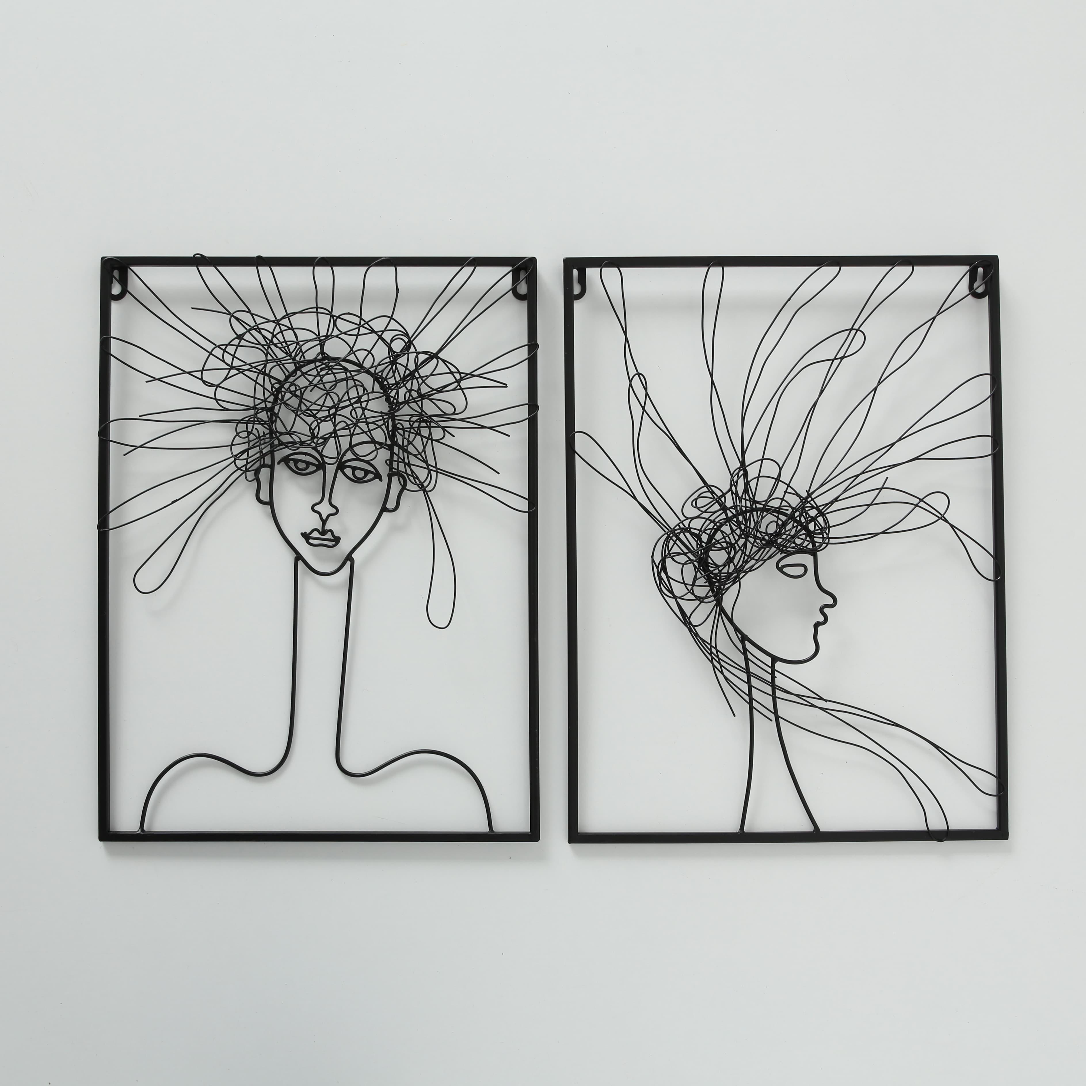 Decoratiune metalica de perete Hairy Negru, Modele Asortate, l30xA1xH40 cm poza