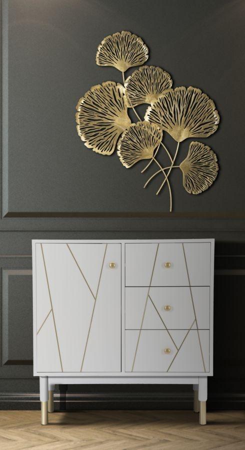 Decoratiune metalica de perete Iris Verticale Auriu, l78xA5,5xH101 cm imagine