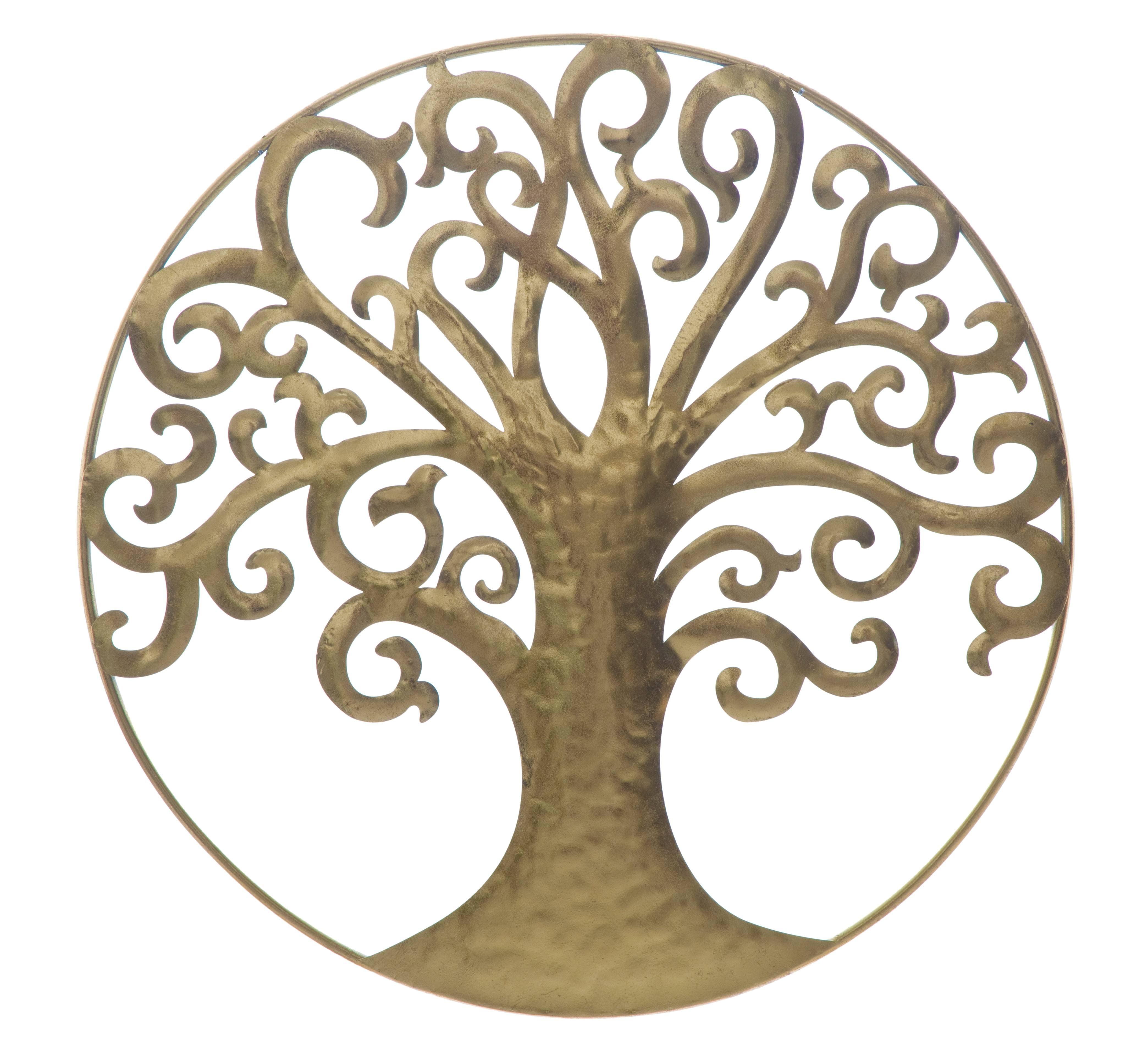 Decoratiune metalica de perete Life Tree Glam Auriu, Ø70 cm poza