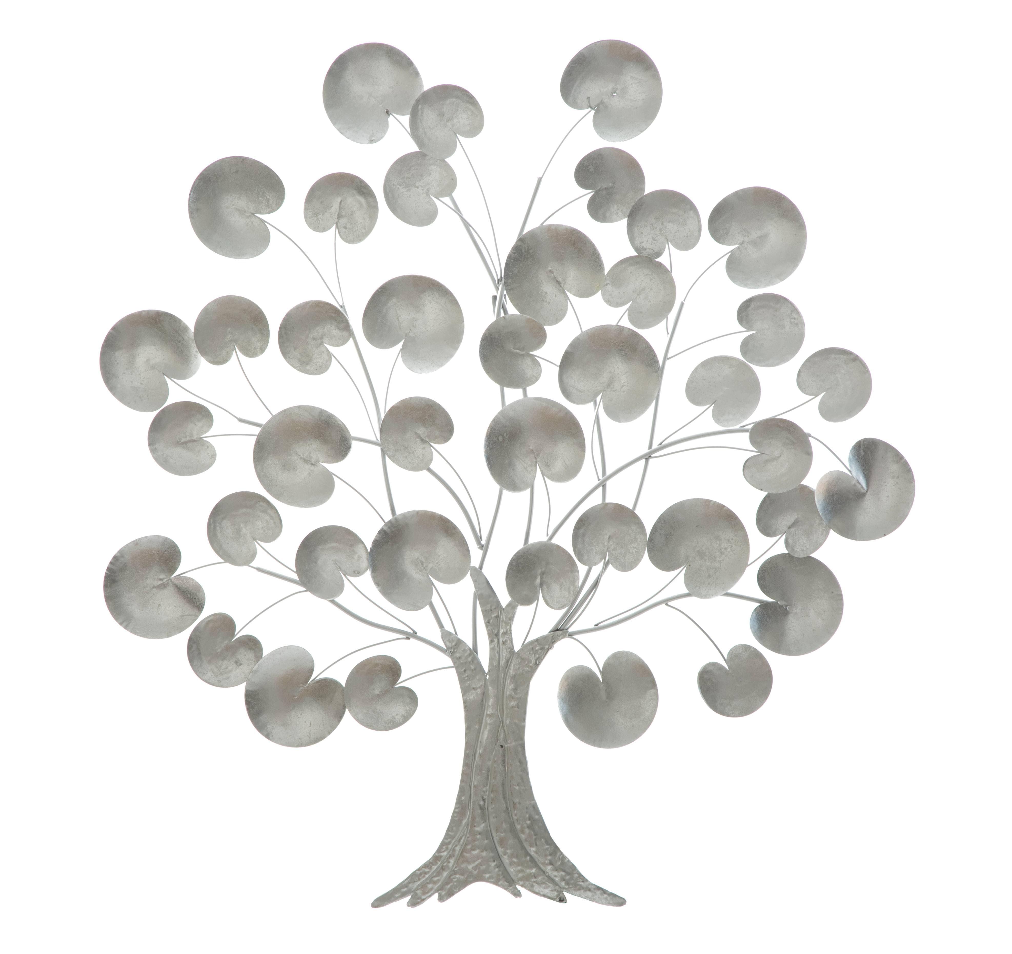 Decoratiune metalica de perete Tree of Life Argintiu, l87,5xA3,5xH93 cm poza