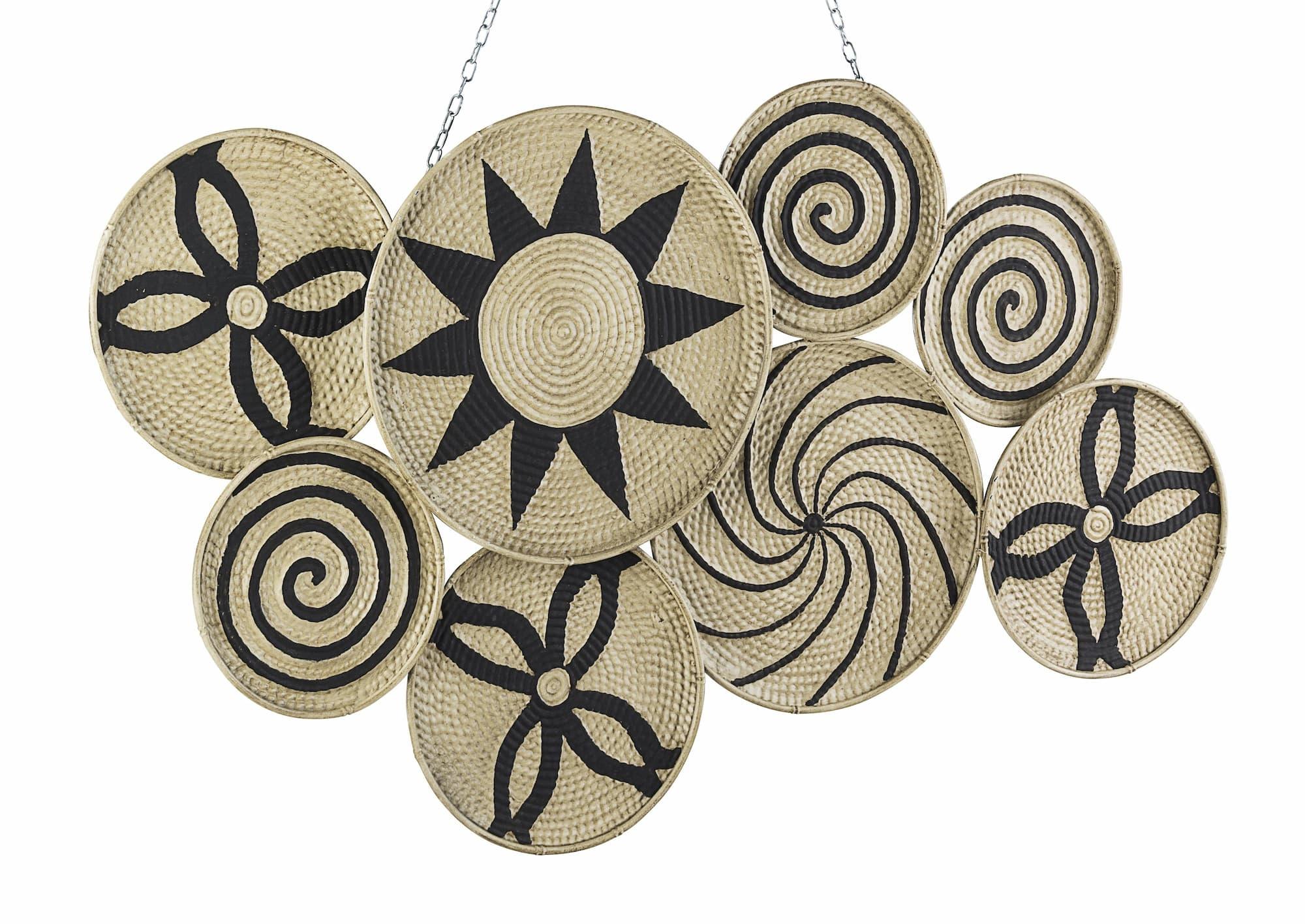 Decoratiune metalica de perete Turkana Large Natural / Negru, l107xA4xH62 cm poza
