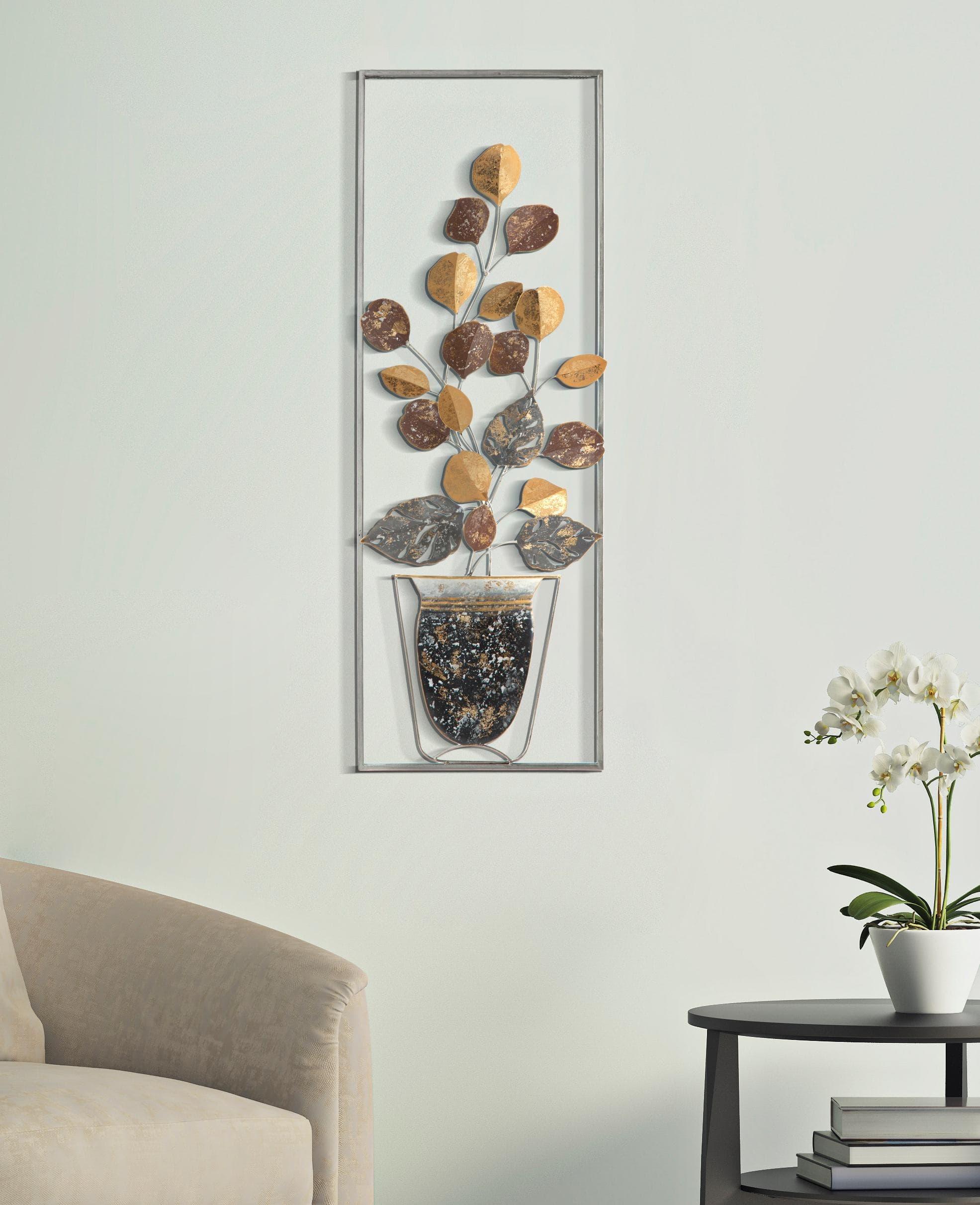 Decoratiune metalica de perete Vase A Multicolor, l31xA3,5xH89,5 cm poza