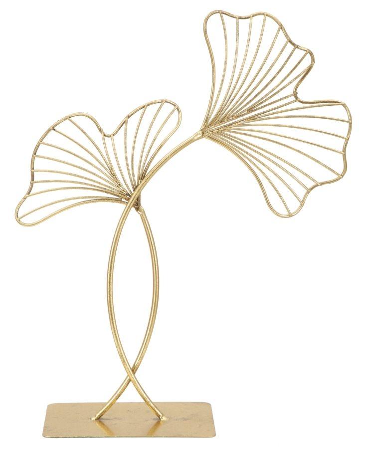 Decoratiune metalica Leaf Glam Auriu, l35xA11,5xH44 cm imagine
