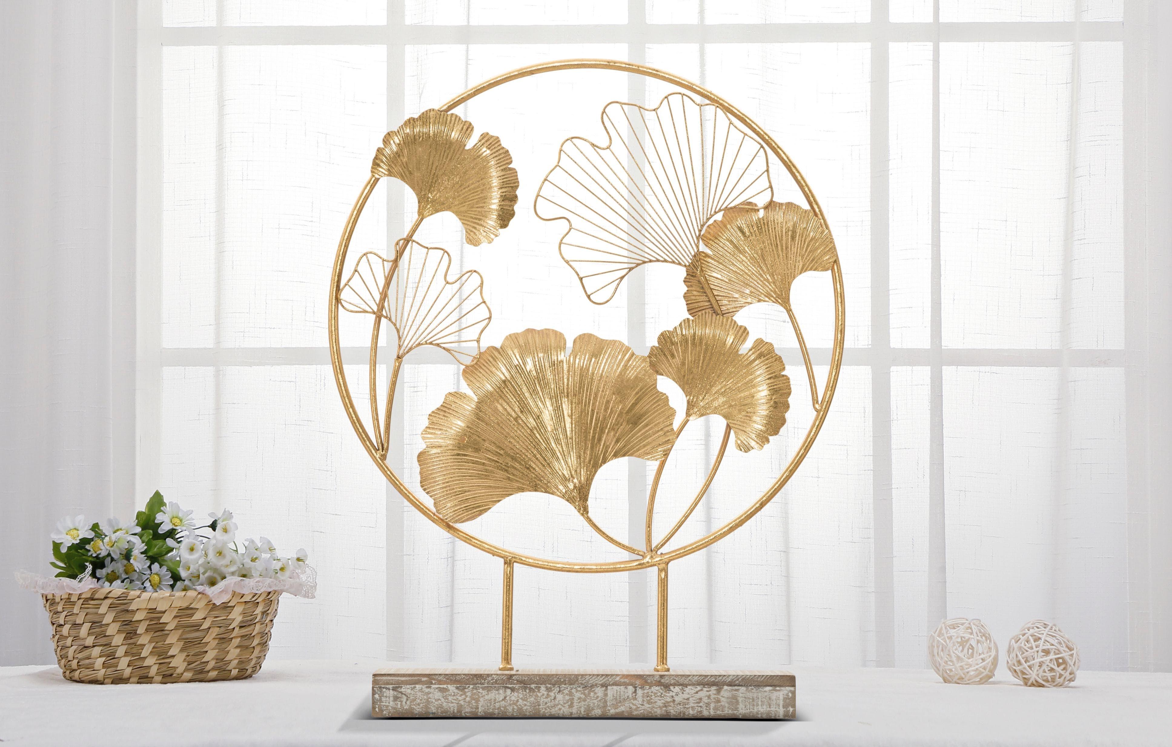 Decoratiune metalica Little Leaf Auriu, l50xA12,5xH64 cm poza