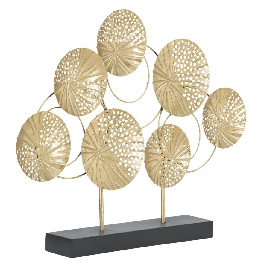 Decoratiune metalica Sculptura C Auriu / Negru, l56xA7xH43 cm poza