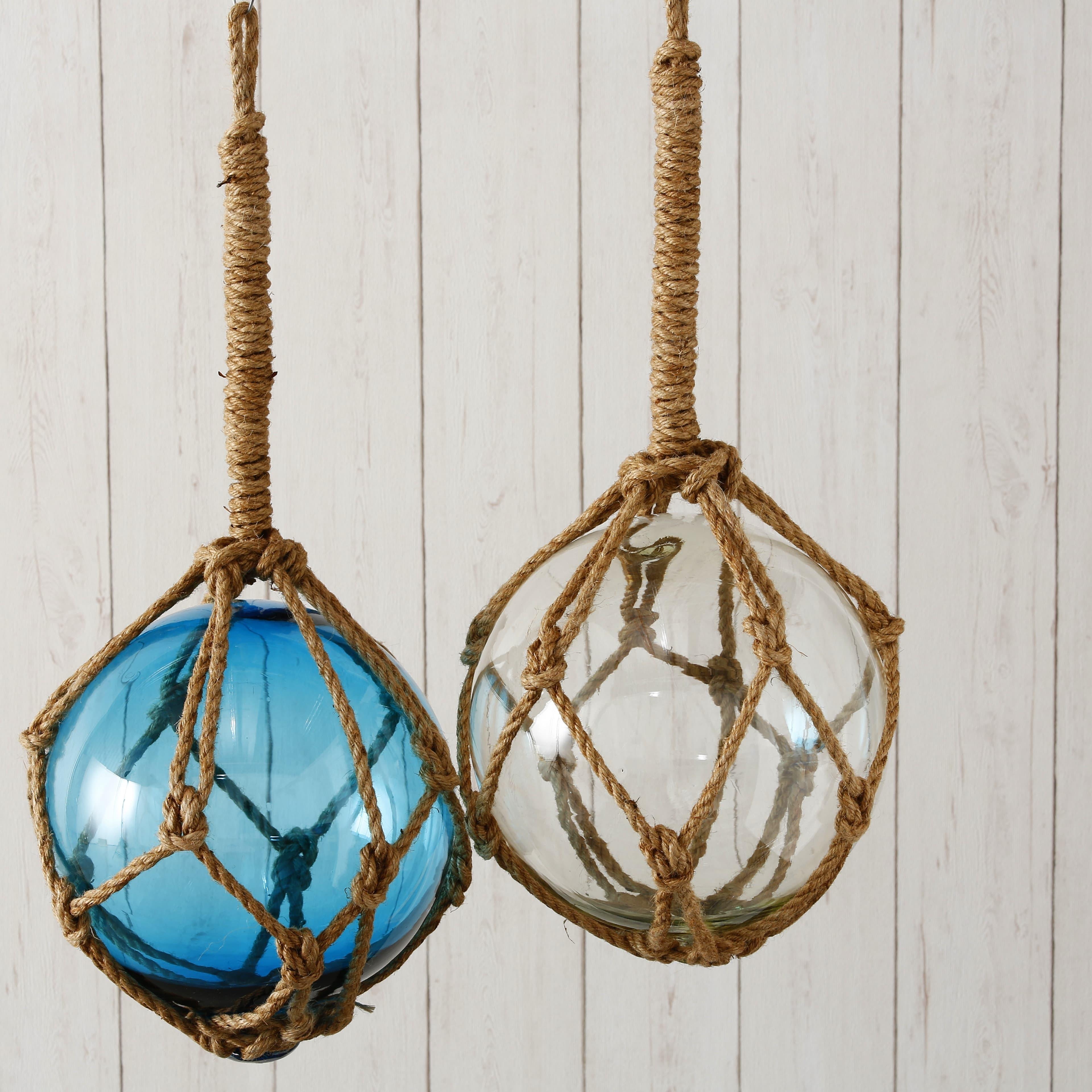 Decoratiune suspendabila din sticla Fisher Clear / Turcoaz, Modele Asortate, Ø25xH25 cm