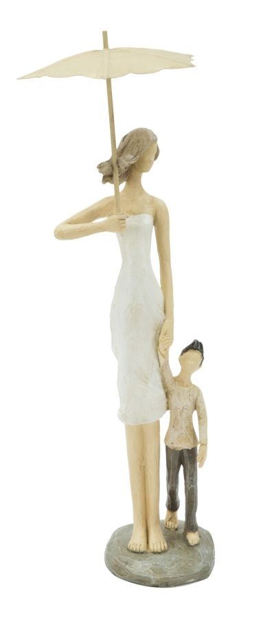 Decoratiune din rasina Woman and son Natural, l12,5xA9,8xH28,5 cm imagine