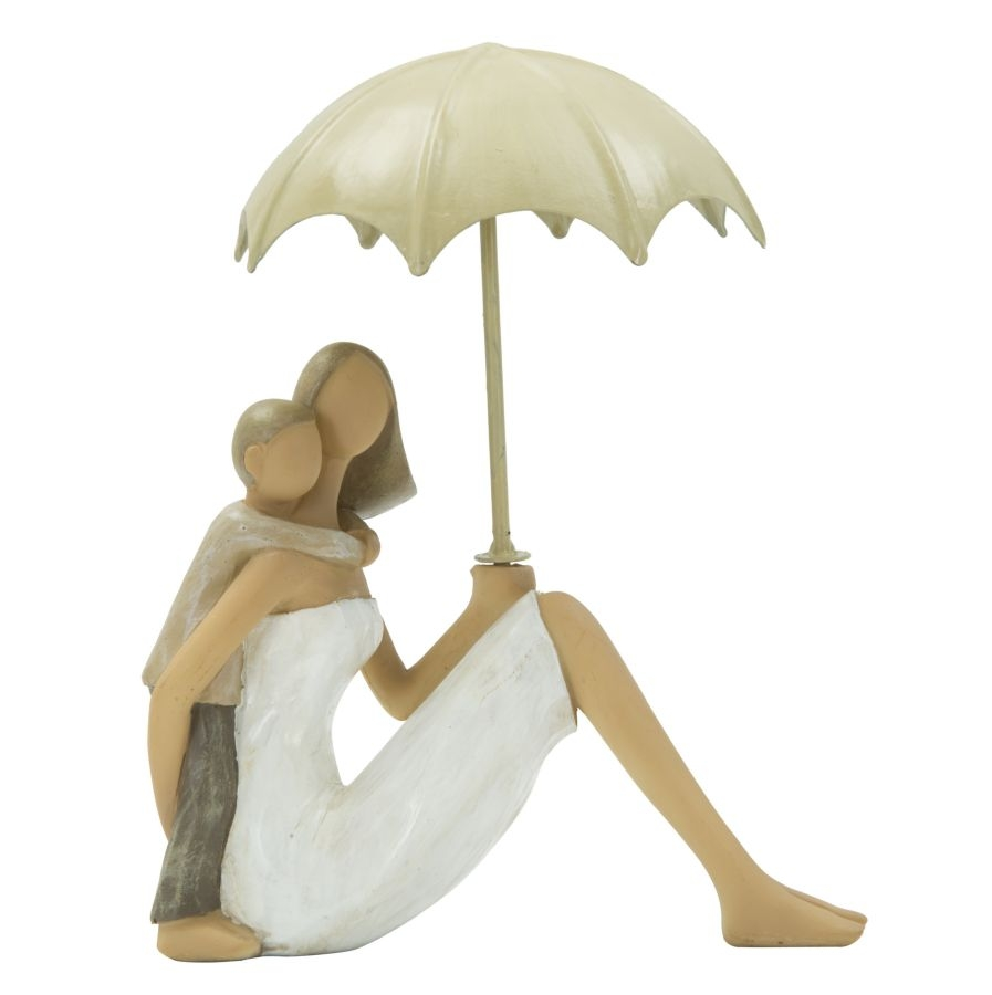 Decoratiune Woman and son with umbrella L125xl45xH105 cm