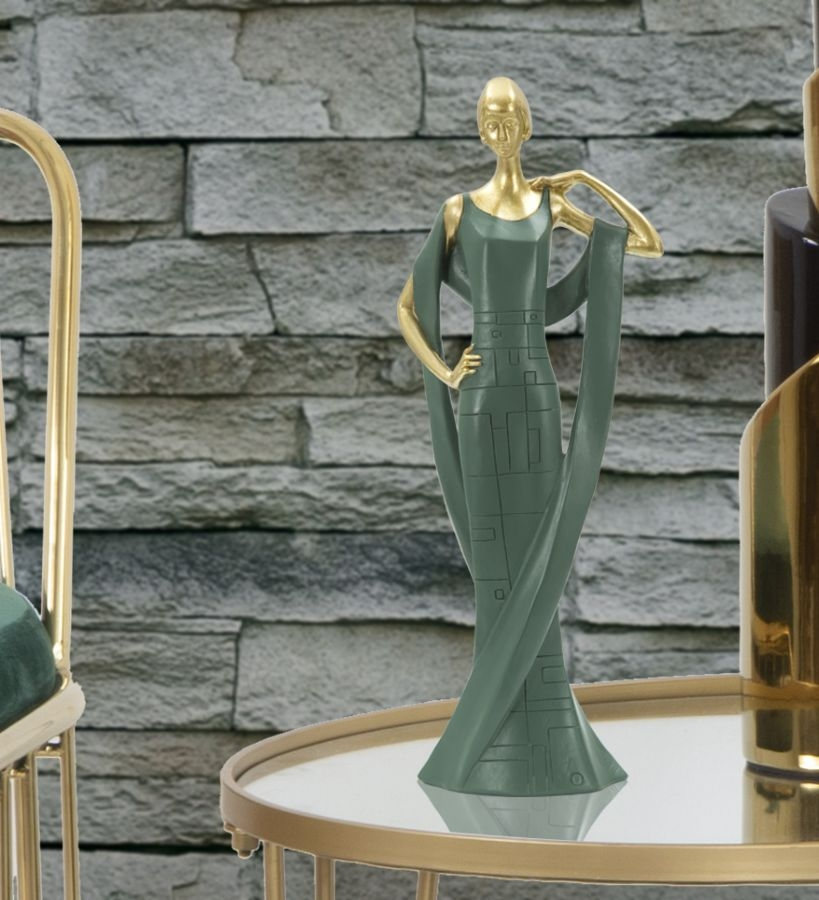 Decoratiune din rasina Woman Casino Verde / Auriu, l12xA7xH31,5 cm