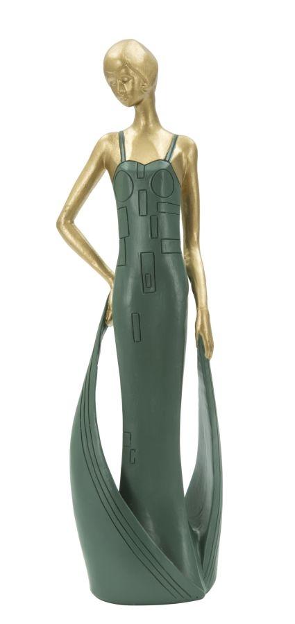Decoratiune Woman casino Green / Gold L7xl5xH24 cm
