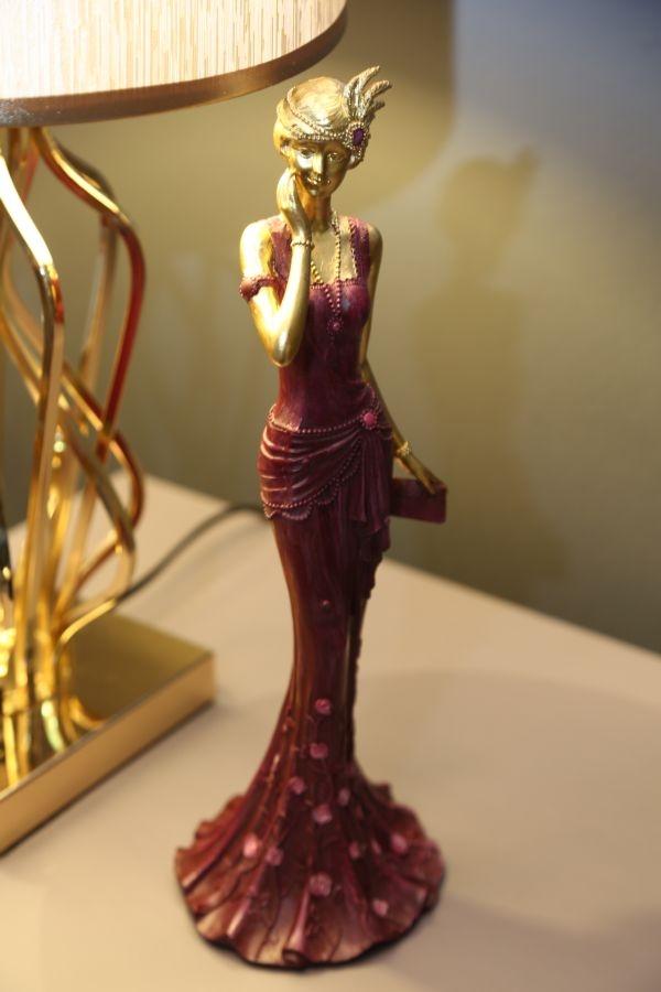 Decoratiune din rasina Woman Venice Glam Violet / Auriu, l11,5xA10xH31,5 cm