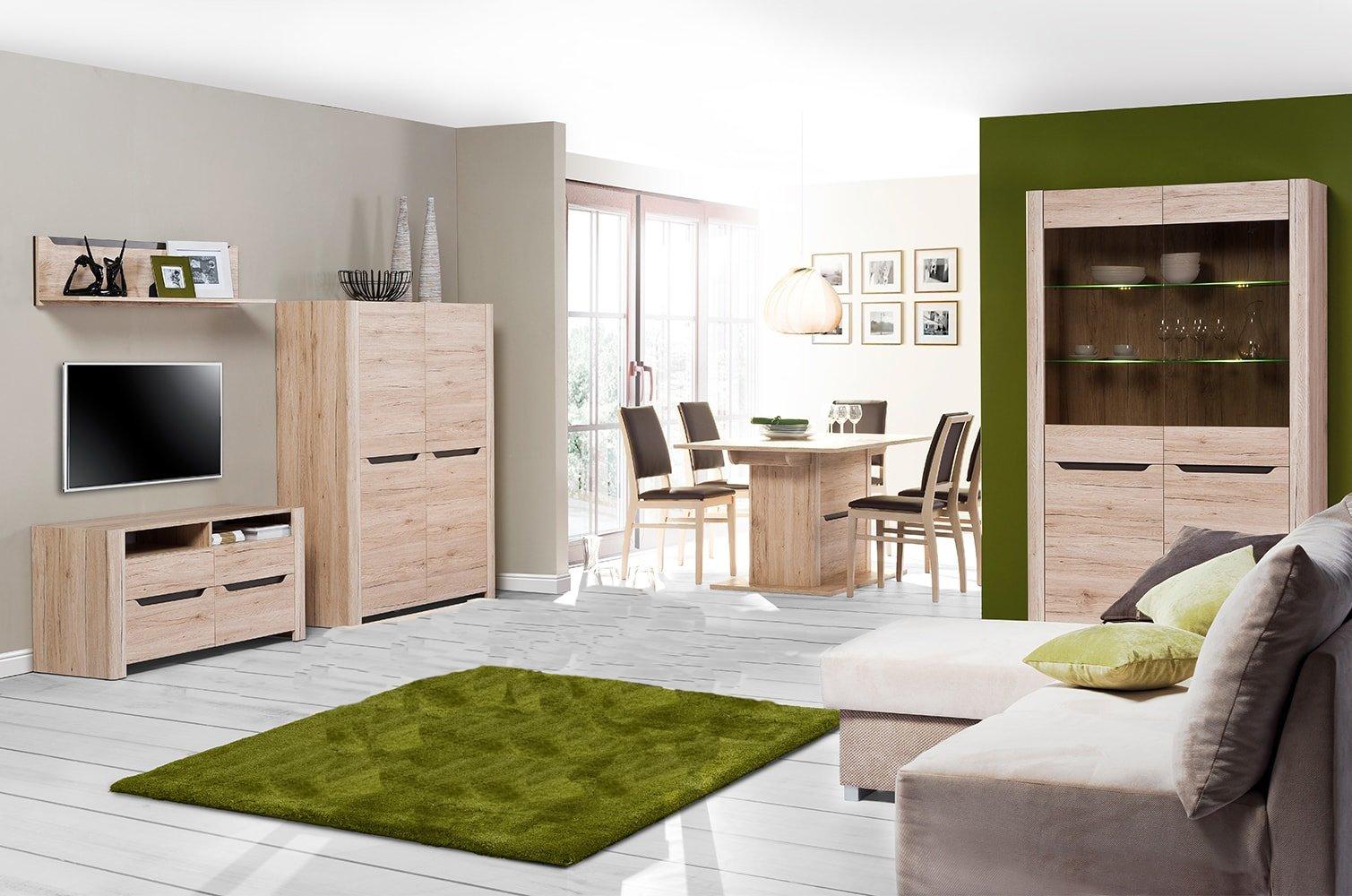 Set de mobila living din pal, 4 piese Desjo Stejar San Remo