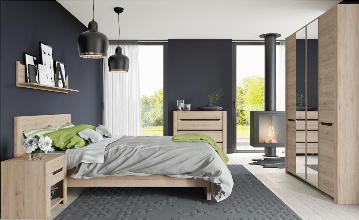 Set Mobila Dormitor din pal, 6 piese Desjo Stejar San Remo imagine