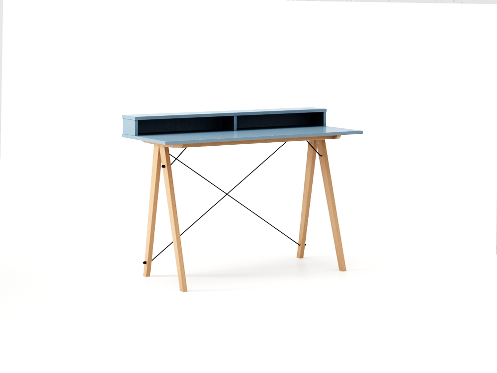 Masa de birou Desk Slim Beech Blue II, L120xl50xh85 cm