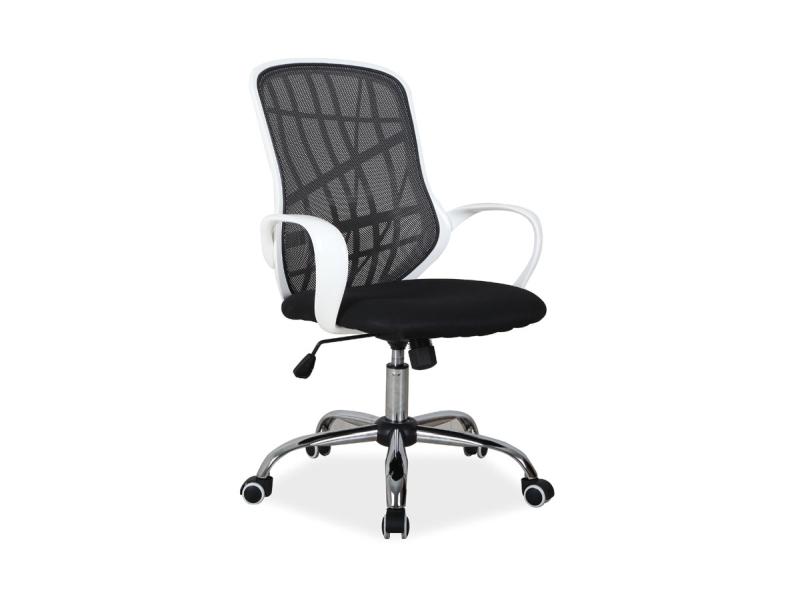 Scaun de birou ergonomic, tapitat cu stofa Dexter Black / White, l51xA45xH95-105 cm poza