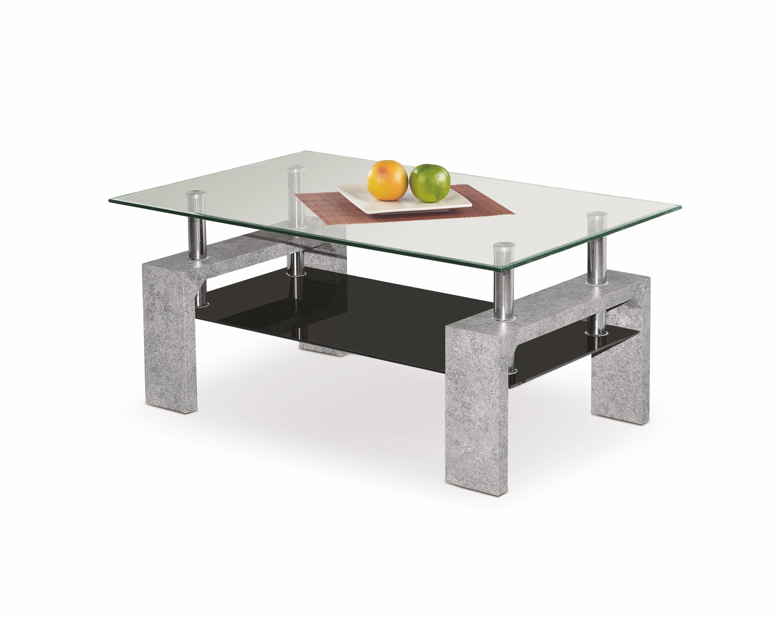 Masa de cafea din MDF si sticla Diana Intro Beton Grey / Transparent L100xl60xH45 cm