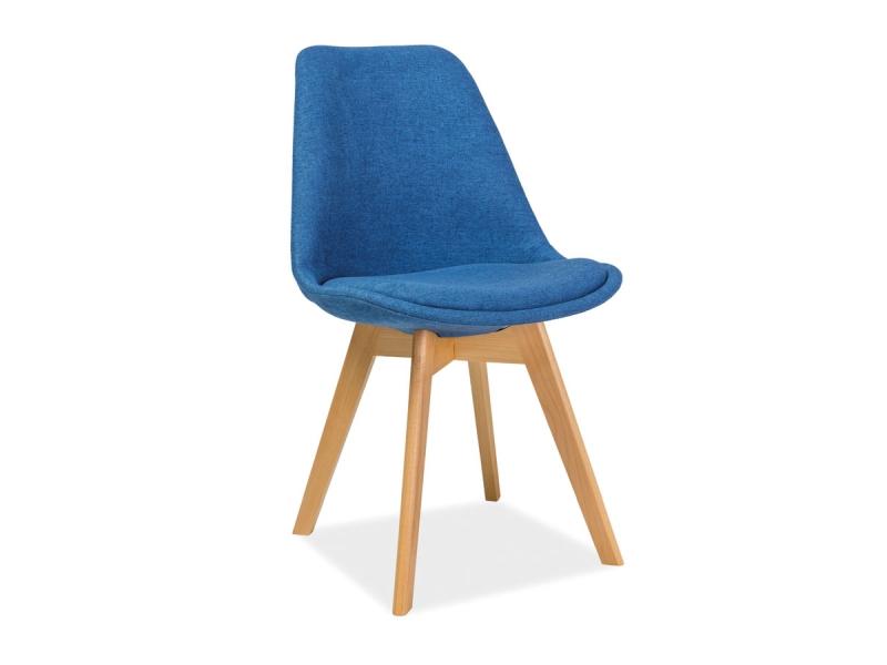 Scaun tapitat cu stofa, cu picioare din lemn Dior Blue, l50xA40xH83 cm poza