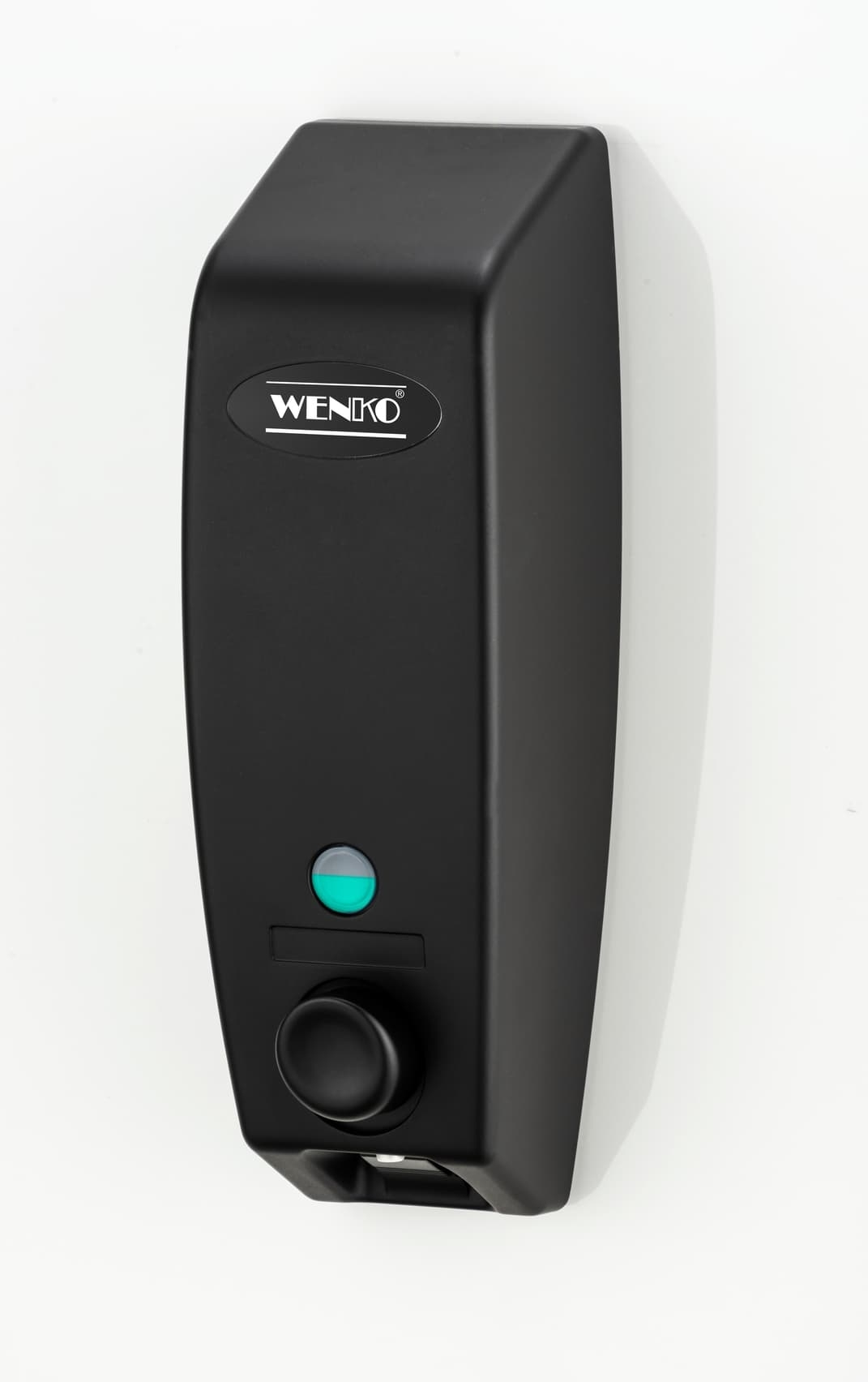 Dispenser pentru sapun lichid, din plastic, montare perete, Varese Negru, L8,5xl8xH25 cm