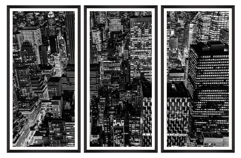 Tablou 3 piese Framed Art Downtown Manhattan imagine