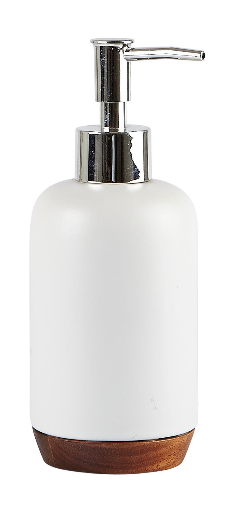 Dozator pentru sapun din ceramica, 350 ml, Kj-Alb imagine