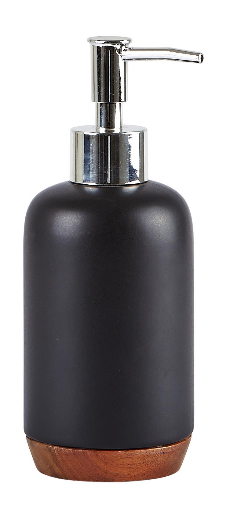 Dozator pentru sapun din ceramica, 350 ml, Kj-Negru imagine