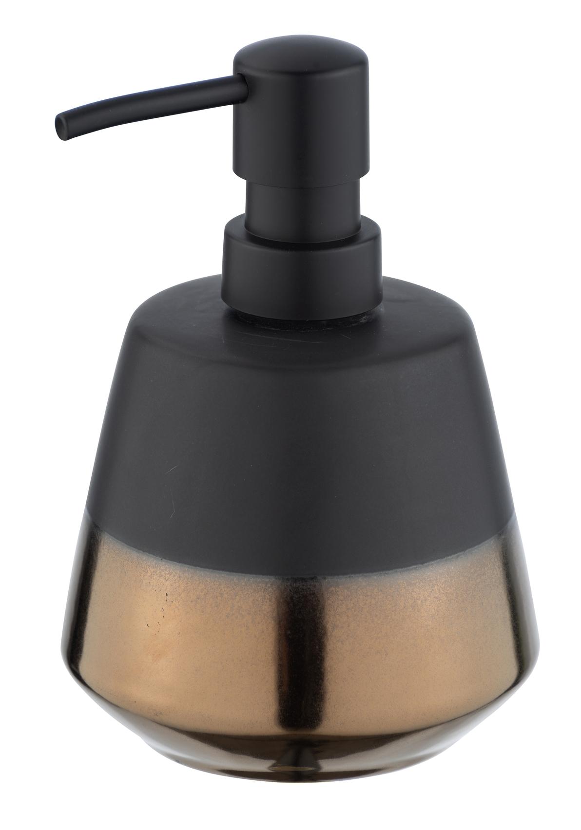 Dozator pentru sapun, din ceramica, Brandol Negru / Auriu, Ø9,8xH14,1 cm imagine