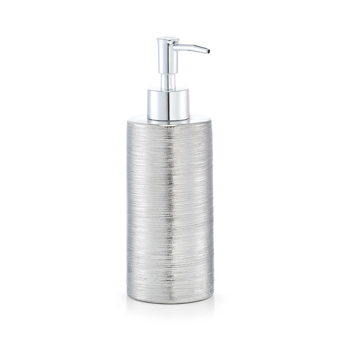 Dozator pentru sapun din ceramica, Brushed Silver, Ø 6,7xH19,5 cm