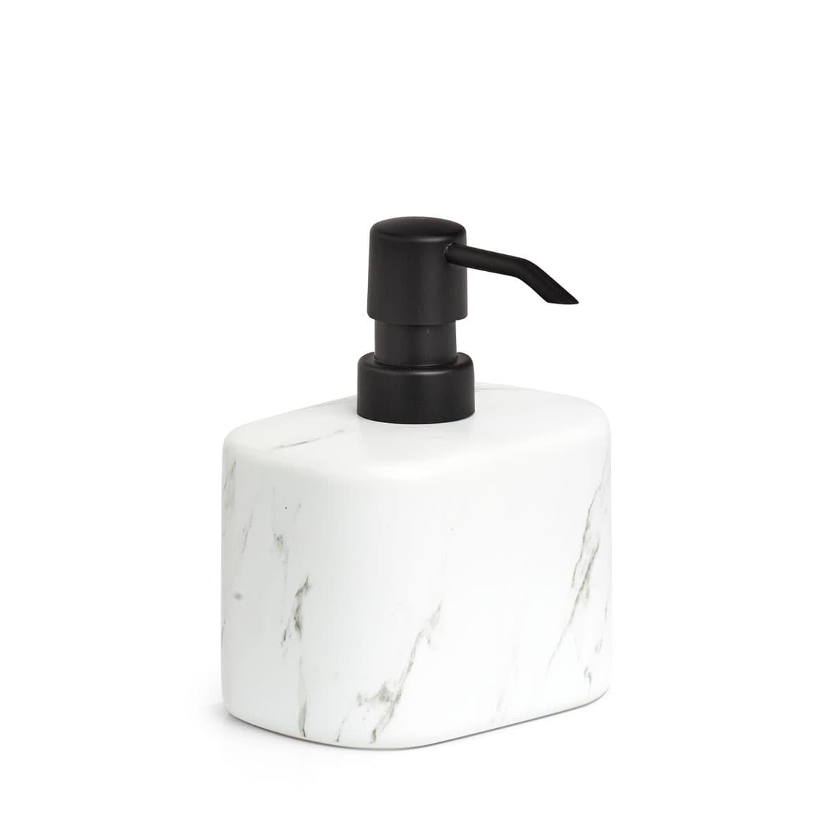 Dozator pentru sapun din ceramica, Marble Alb / Negru, L11xl8,1xH13,2 cm somproduct.ro