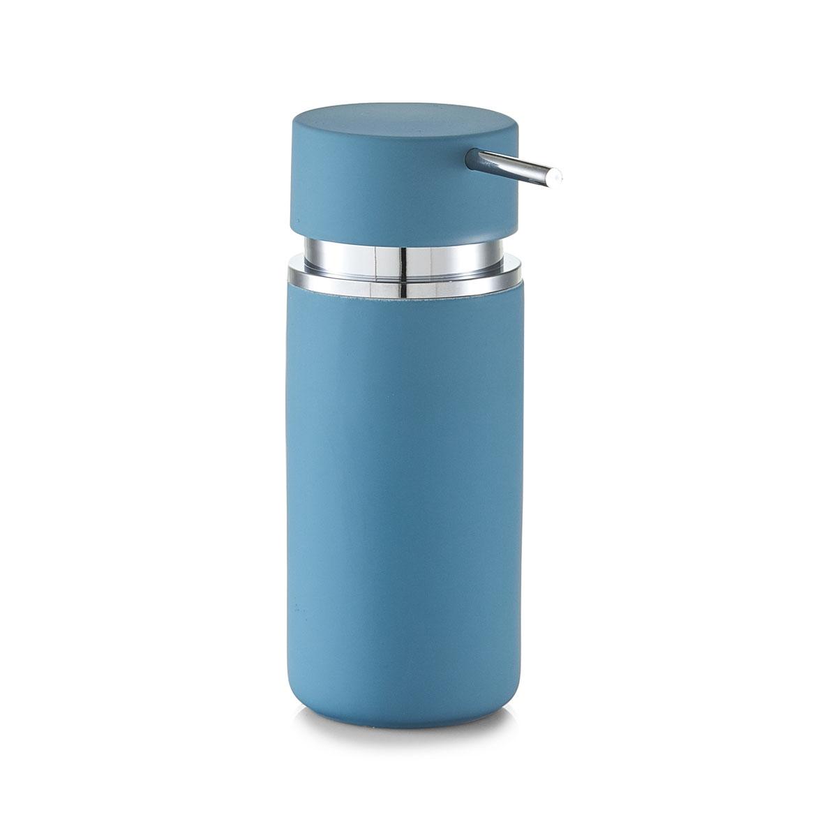 Dozator pentru sapun din ceramica, Rubber, Ø 6,6xH16 cm-Albastru somproduct.ro