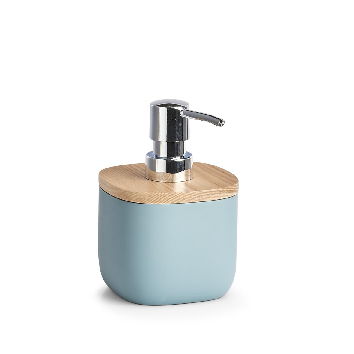 Dozator pentru sapun din polirasina, Ash Wood Albastru, L9,6xl9,6xH14 cm