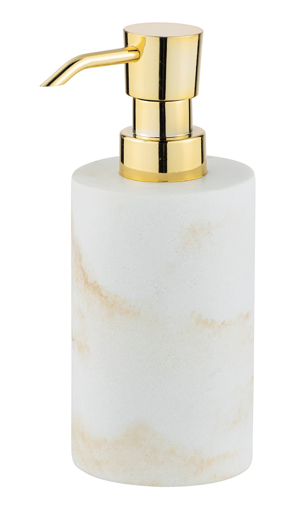 Dozator pentru sapun, din polirasina, Odos Alb / Auriu, Ø7xH18 cm imagine