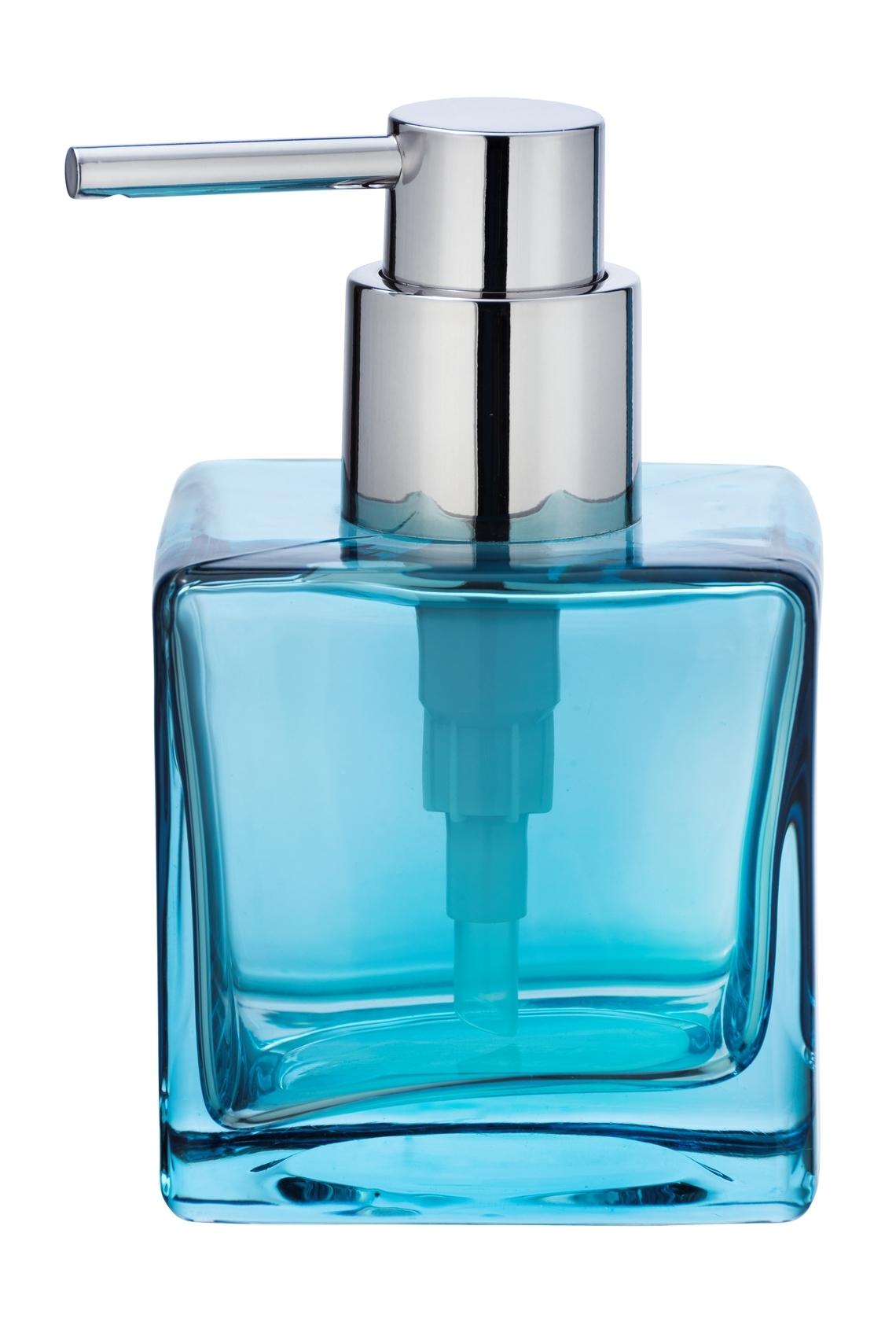 Dozator pentru sapun, din sticla, Lavit Bleu, L8xl8xH8,5 cm imagine